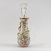 A famille rose canton vase made in to  a lamp, qing dynasty, 19th century.
