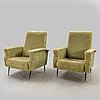 Armchairs, a pair, 1950s-60s, probably italy.