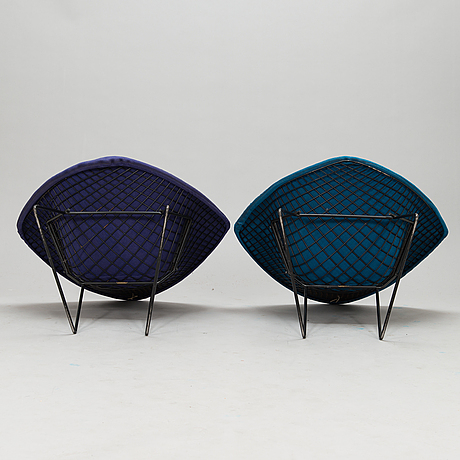 """Harry bertoia, two """"diamond chair"""" chairs. manufactured in finland under license to fiskars, billnäs, 1950s/1960s."""