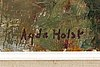 Agda holst, agda holst, oil on panel, signed.