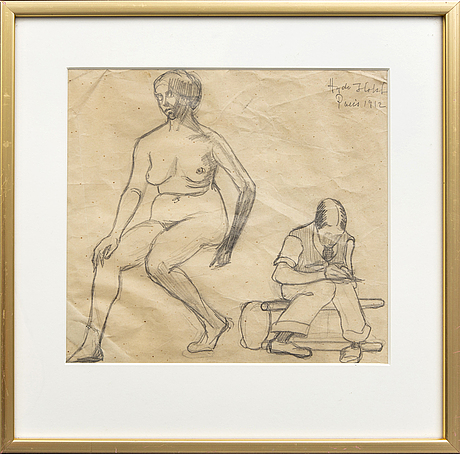 Agda holst, agda holst, pencil drawing / sketch, signed, dated.