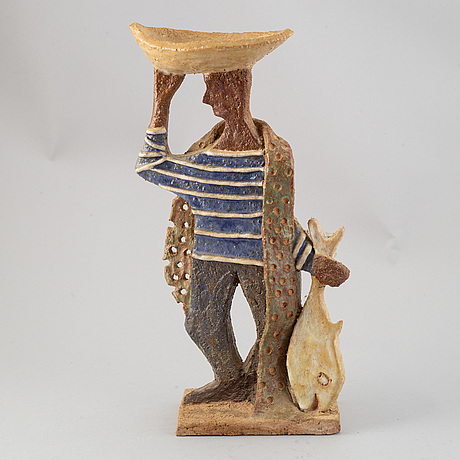 Francoise bourget, skulptur, keramik, studio les argonautes, frankrike, omkring 1900-talets mitt.