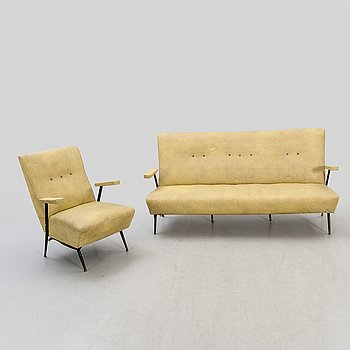 Sofa and armchair, 1950s, probably Italy.