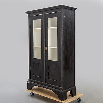 A painted display cabinet, late 20th century.