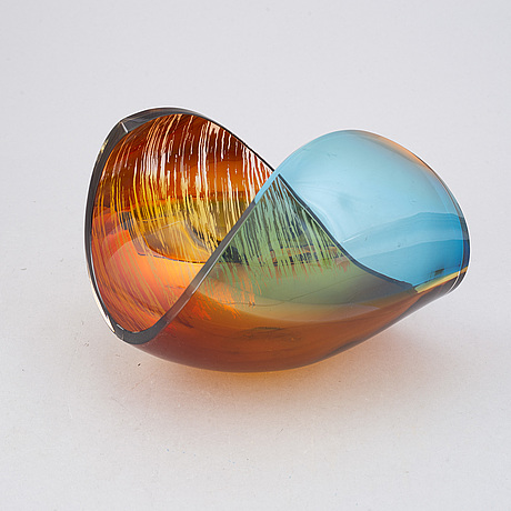 Lena bergström, a 'planets' glass sculpture/bowl from kosta, sweden. signed and numbered 128/500.