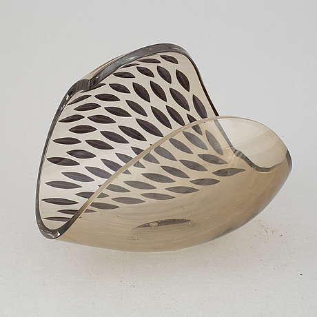 Lena bergström, a 'tellus' glass sculpture/bowl from kosta, sweden. signed and numbered 118/500.
