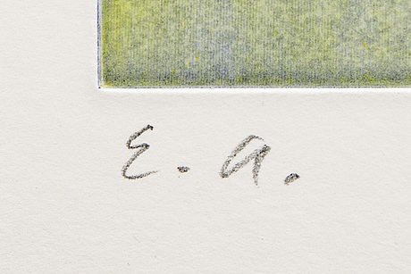 Ola billgren, färglitografi, signerad, ea, daterad.