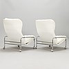 Jan-eric bengtsson, a set of three leather upholstered 'häger' easy chairs, scapa industri ab, rydaholm.