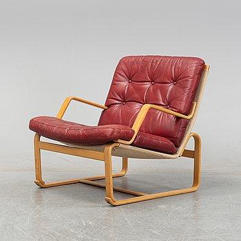Bruno Mathsson, a 'Katja' beech easy chair, Dux Möbel AB, 1970's.