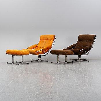 A pair of 1970's 'Luta' easy chairs and foot stools from Värnamo Sängkläder AB.