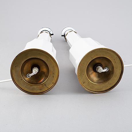 Bordslampor, ett par, heiberg-modell, troligen danmark. 1900-talets andra hälft.