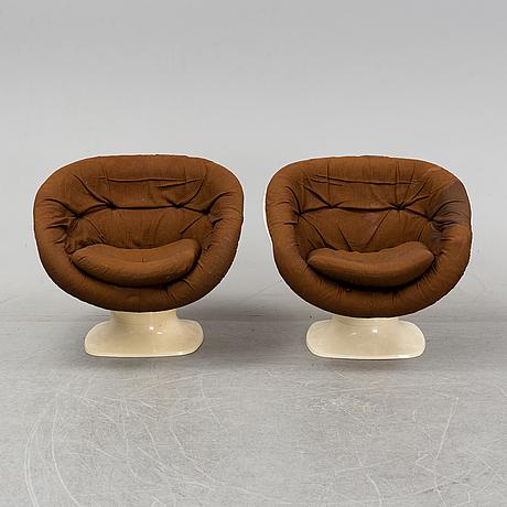 Team tillberg, a pair of easy chairs, model 'apollo' overman ab, tranås, sweden 1970's.