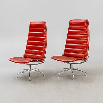 """Jens Amundsen for Fritz Hansen, , a pair of armchairs and tables, """"SAS Chair Series"""", Denmark 1979."""