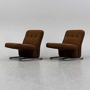 Stockum Design, a pair of 'Pamela'/'S-30' armchairs, Vemo Industri AB, launched 1973.