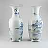 A pair of blue and white large chinese vases, modern.