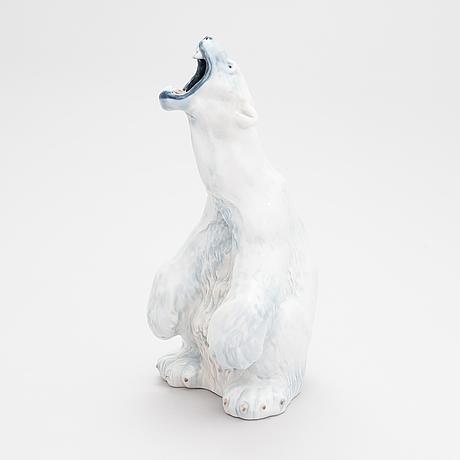 Carl frederik liisberg, a royal copenhagen porcelain polar bear, model 502, denmark, 1985-91.