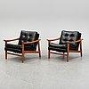 A pair of swedish teak easy chairs from bröderna andersson, ekenässjön, 1960's.