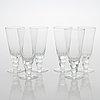 """Oiva toikka, a 28-piece set of glassware, """"mukura"""" (""""paratiisi""""), nuutajärvi 1971-75."""