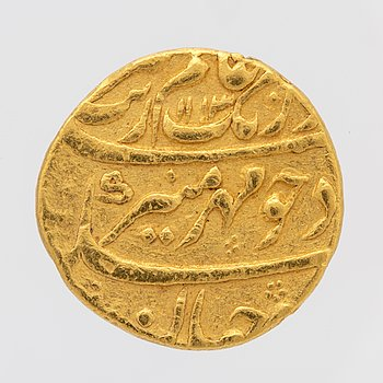 Coins, gold, 1 mohur, Moghol empire. 1600s / 1700s. Indo-Persian.