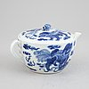 A chinese blue and white porcelain teapot, late qing dynasty, late 19th century.