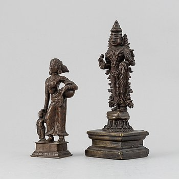 Two copper alloy figures of dities, India, 20th Century.