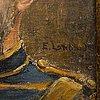 Emilia lönblad, olja på duk lagd på pannå, signerad.