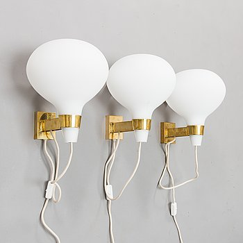 Lisa Johansson-Pape, A set of three 1950s/60s wall lamps, model 50-078, Orno Stockmann.