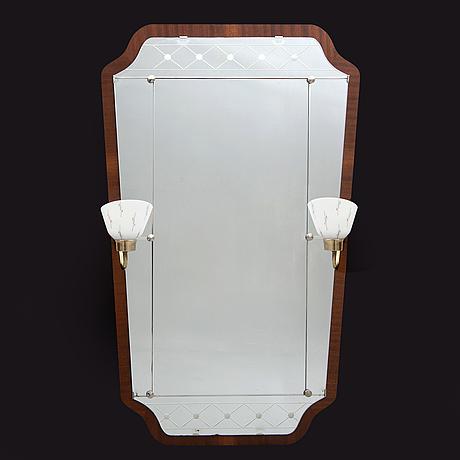 A glass & trä 1940/50s mirror.