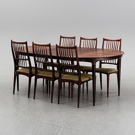 A 7 piece dining group by svante skogh, seffle möbelfabrik, säffle, 1950's/60's.