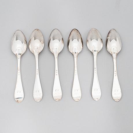 Carl gustaf nyberg, matskedar, 6 st, silver, åbo 1821.
