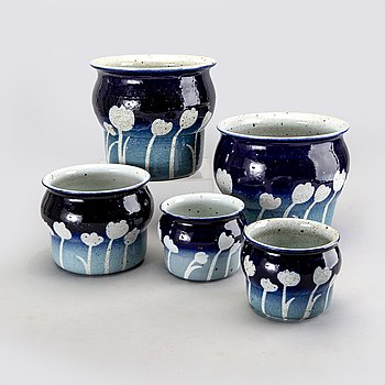 Jackie Lynd, five stoneware flower pots from Rörstrand in the second half of the 20th century.