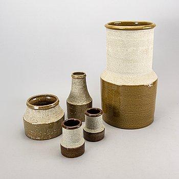 A set of five vases by Hertha Bengtsson for Rörstrand, Sweden.