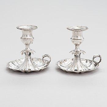 A a pair of mid-19th-century silver candlesticks, maker's mark of Olof Robert Lundgren, Turku 1857.