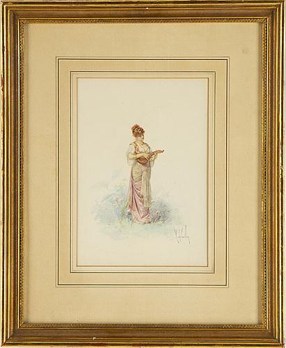 Louis robert de cuvillon, watercolour, signed.