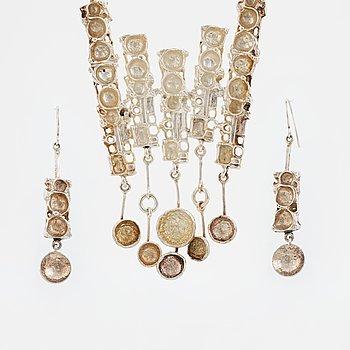 Juhls, collier samt örhängen, sterlingsilver.