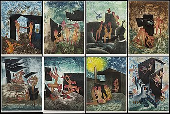 Roberto Matta, a signed and numbered portfolio with 8 colour etchings.
