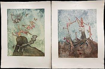 Roberto Matta, 2 signed colour etchings.