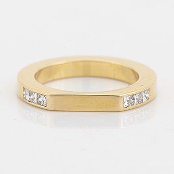 Efva Attling, 18K gold and princess cut diamond ring.