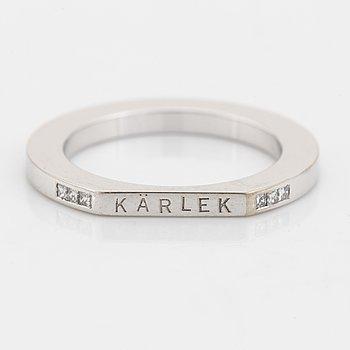 Efva Attling, 18K white gold and princess cut diamond ring.