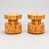 A pair of finnish pinewood stools/ sidetables, late 20th century.