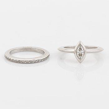 Efva Attling, Two 18K white gold and diamond rings.