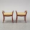 A pair of mahogany stools, mid 19th century.