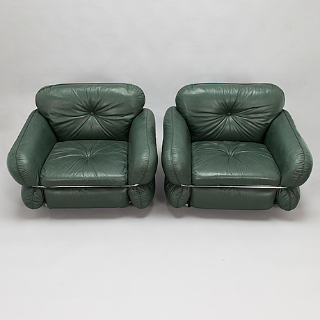 Kurt hvitsjö, a pair of 1970's 'hannibal' armchairs for isku.