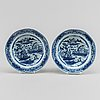 A blue and white dish and two soup dishes, qing dynasty, qianlong (1736-95).