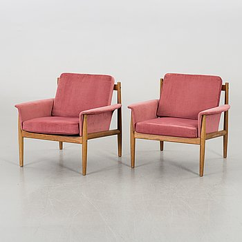 Grete Jalk, a pair of 1960:s  lounge chairs, France & Son, Denmark.