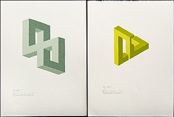 Oscar Reutersvärd, 2 signed and numbered colour lithographs.
