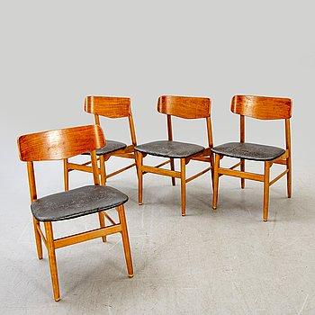 A set of four 1960:s Danish teak and oak chairs.