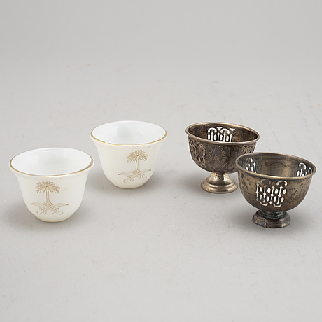 A set of two ottoman  silver xarfs with glace cups, around the year 1900.