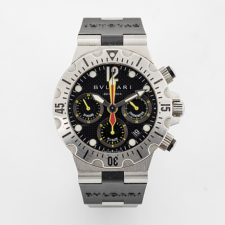 Bulgari, diagono, scuba chrono fly-back, wristwatch, 40 mm.