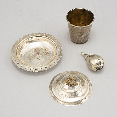 A gift case, 4 parts, silver, otoman empire, around the year 1900.